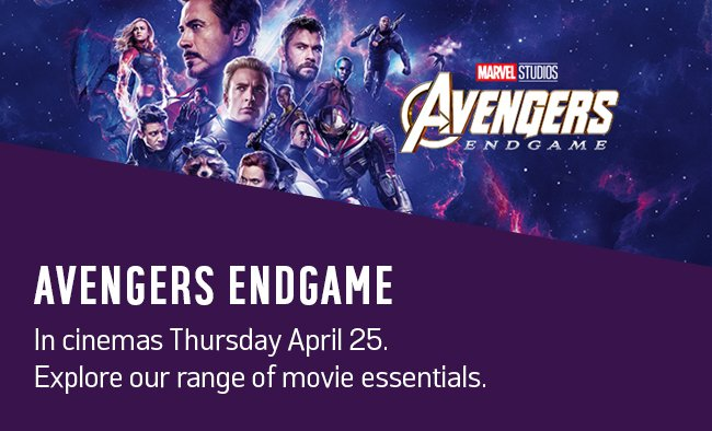 Avengers Endgame. In cinemas Thursday April 25. Explore our range of movie essentials.