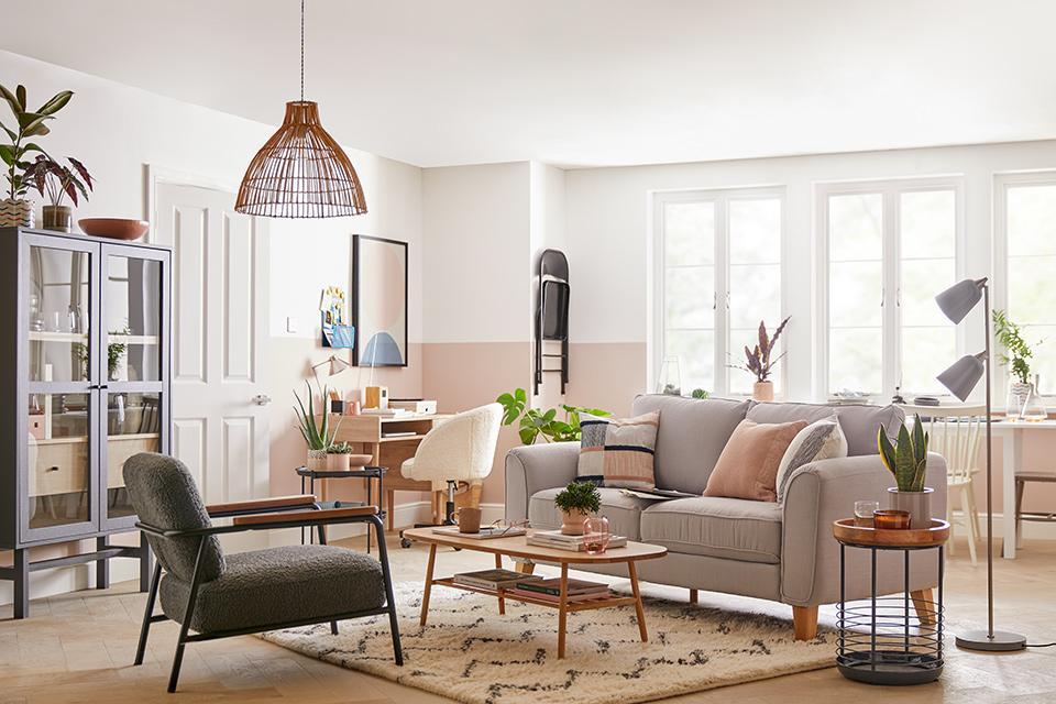 Image ofa neutral open plan living room.