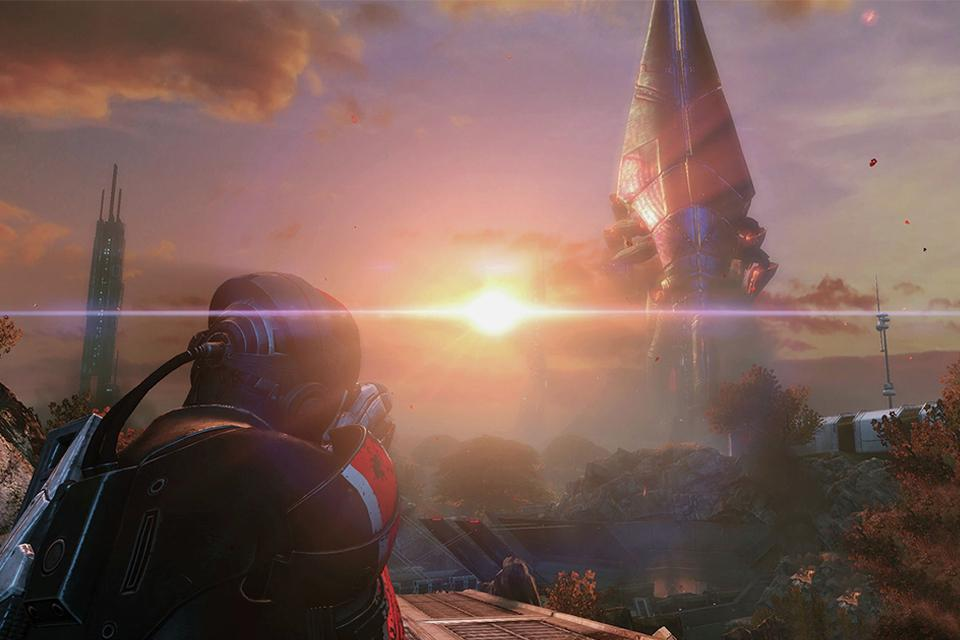 A person in a futuristic spacesuit aiming a weapon at a spaceship in a sci-fi landscape.