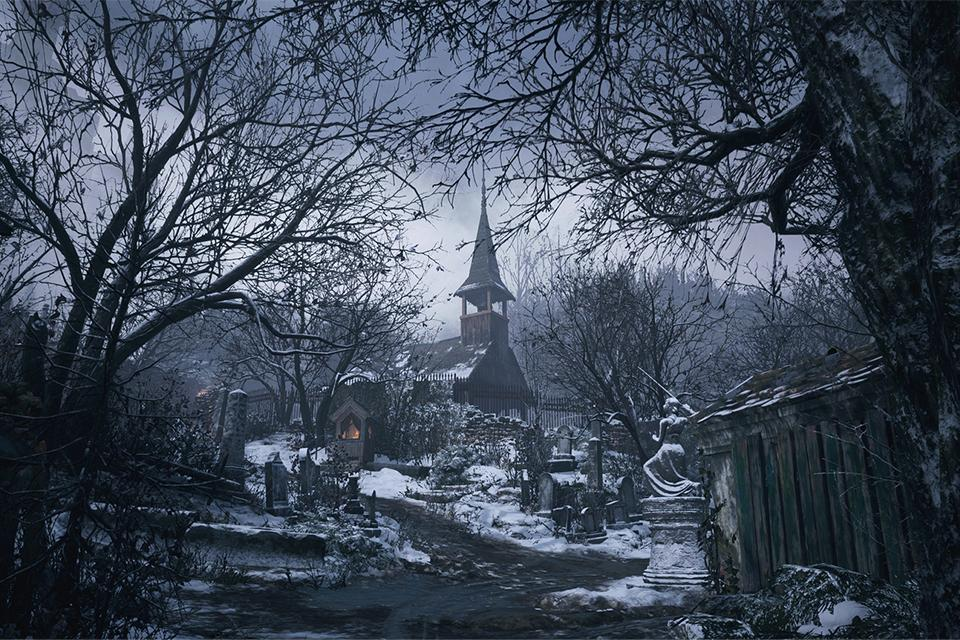 A snowy graveyard with an old church in the background.
