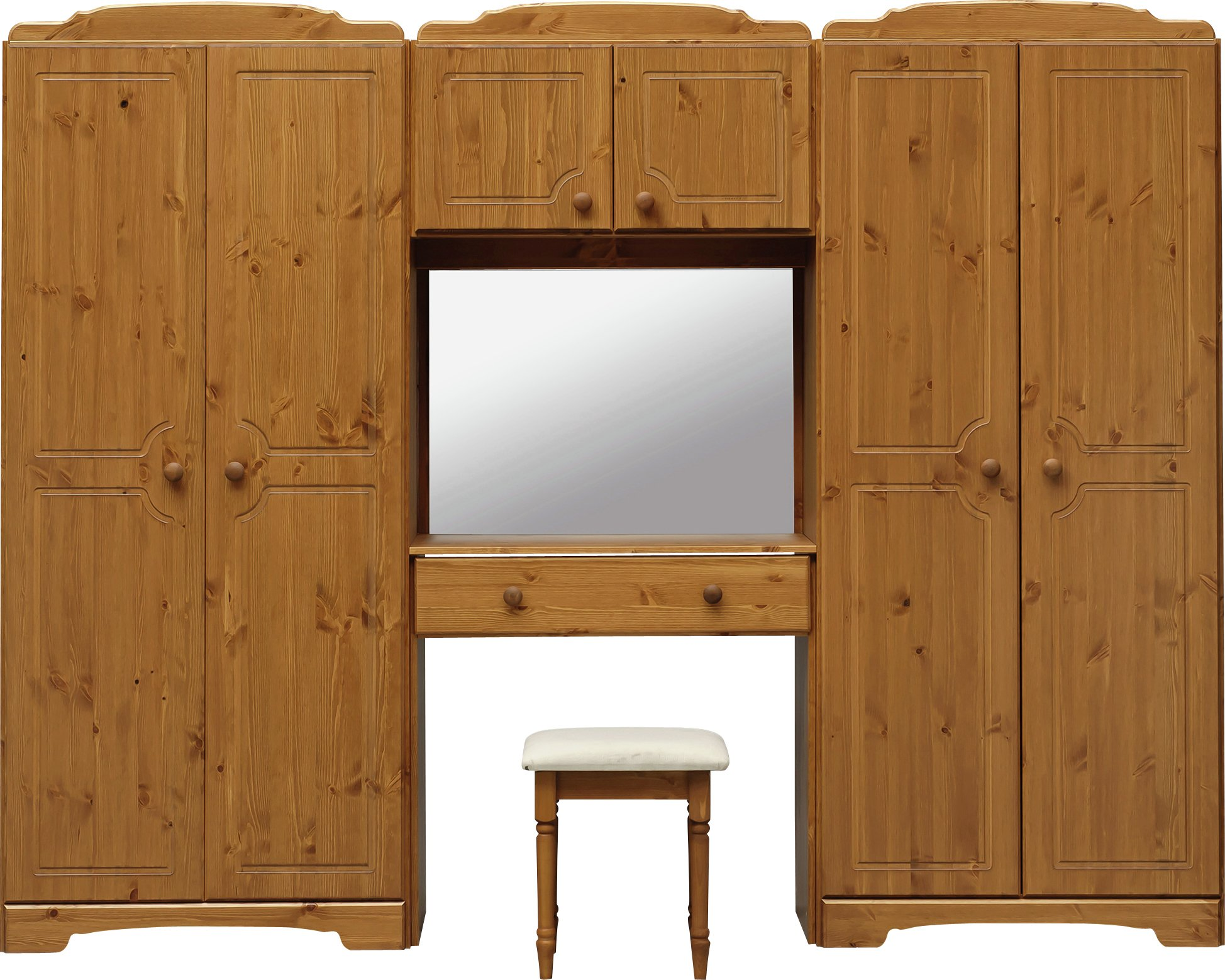 Image of HOME Nordic Wardrobe Fitment, Mirror and Stool - Pine