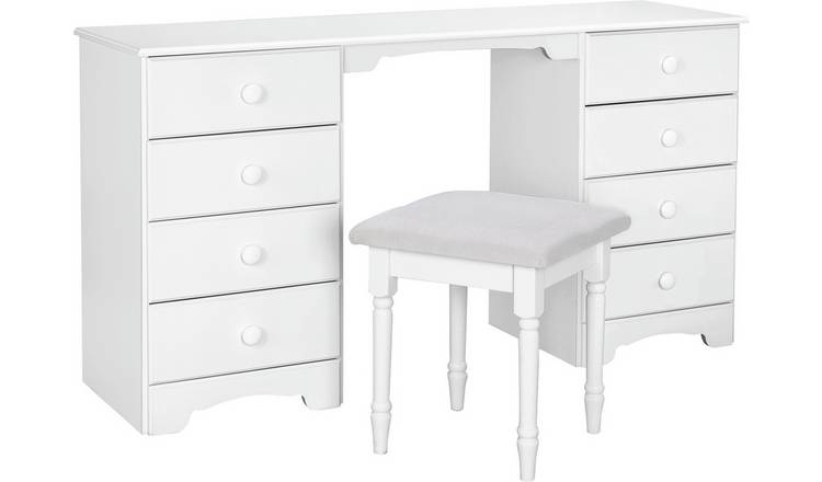 Argos Home Nordic 8 Drw Dressing Table & Stool - Soft White