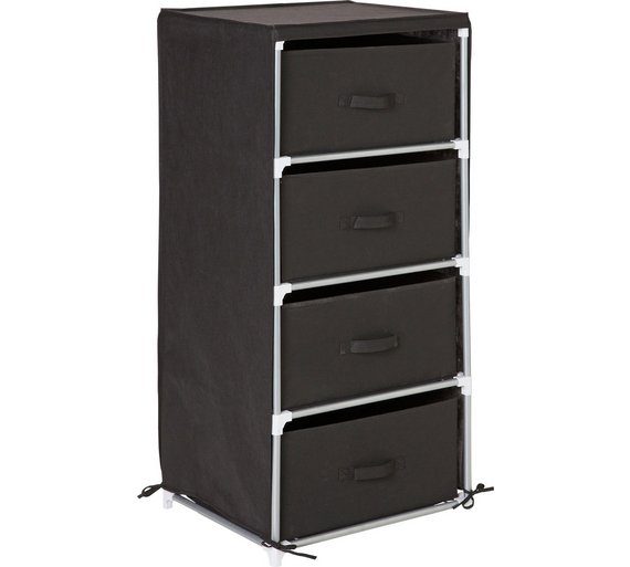 Buy Home Metal And Polycotton 4 Drawer Storage Unit Black At Your Online Shop