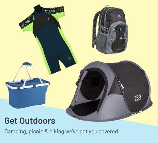 Get outdoors. Camping, picnic & hiking we've got you covered.