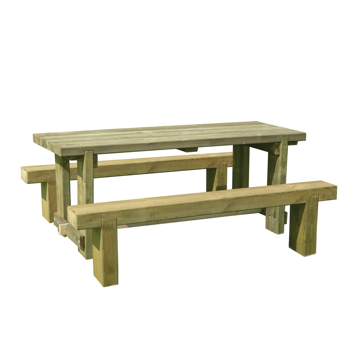 Forest Garden Sleeper Benches and Table Set 1.8m