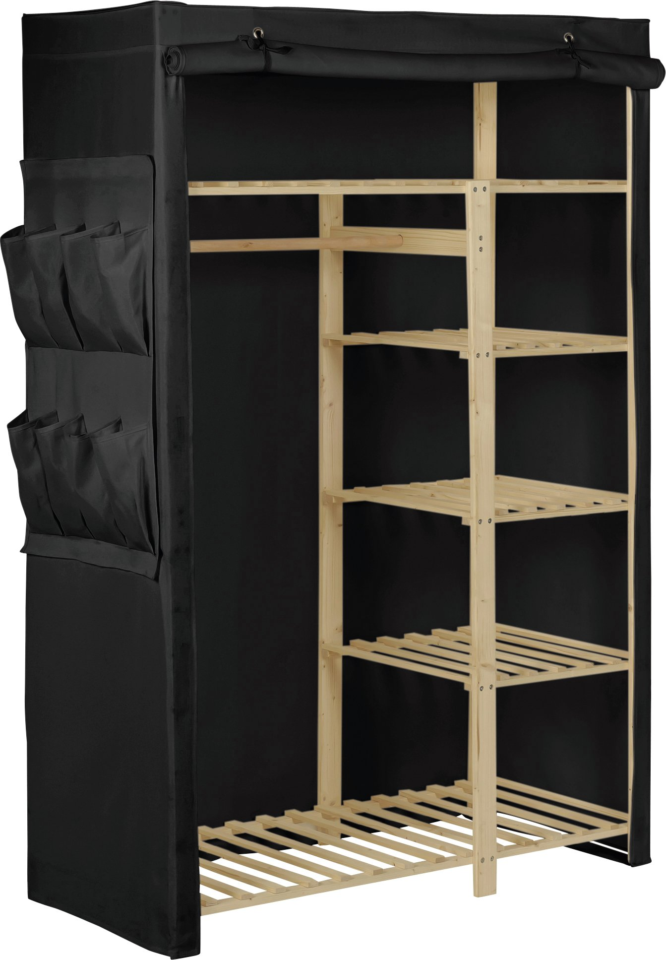 Argos Home Polycotton and Pine Double Wardrobe - Black
