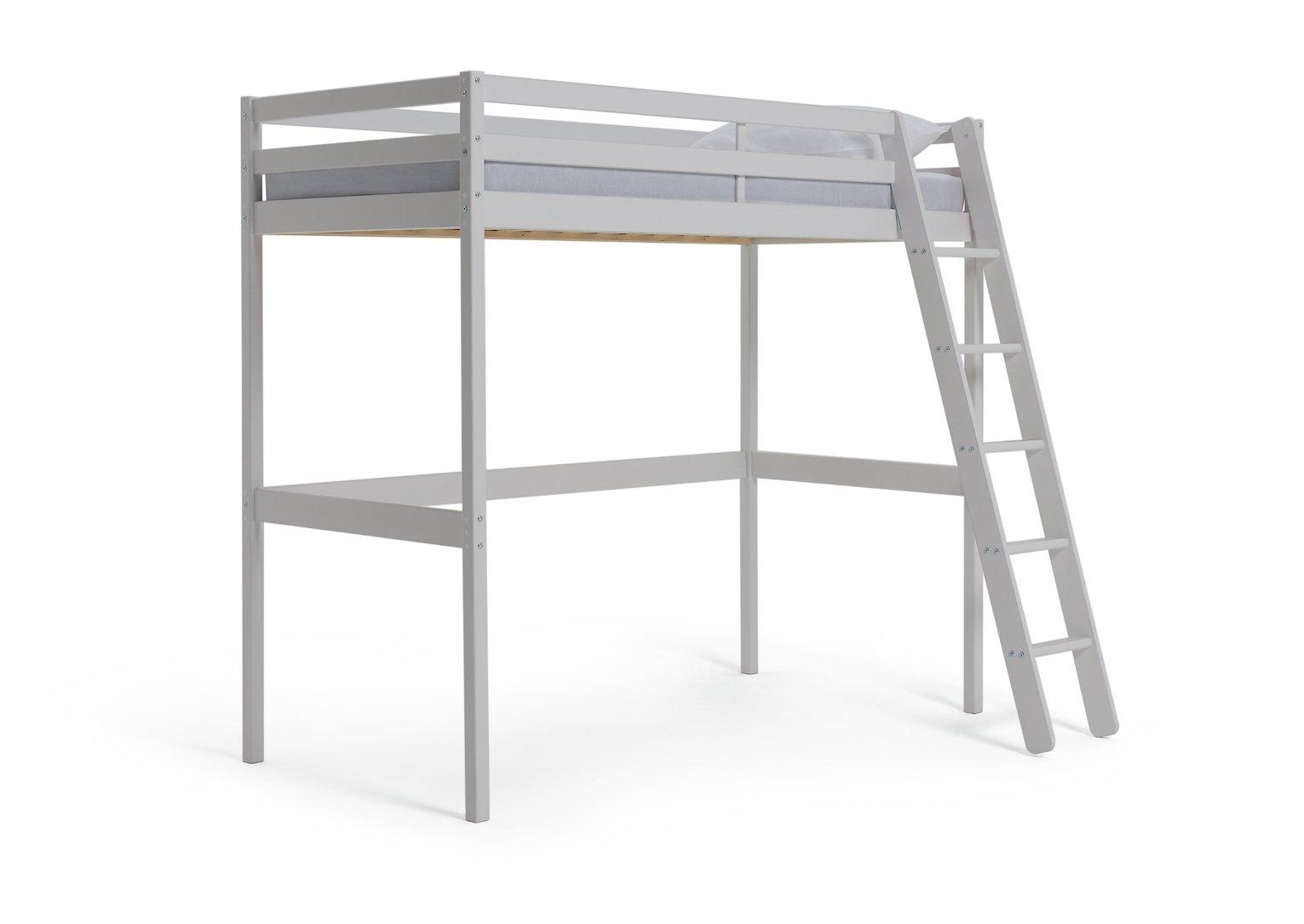 'Wooden - Single High Sleeper Bed Frame - White