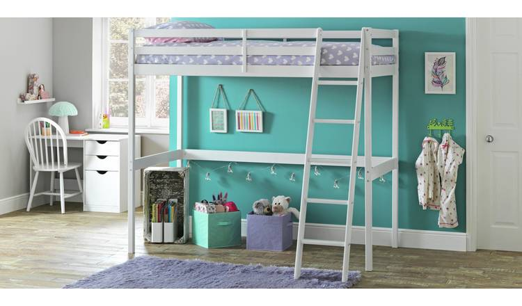 Argos Home Kaycie High Sleeper Bed Single Bed Frame - White