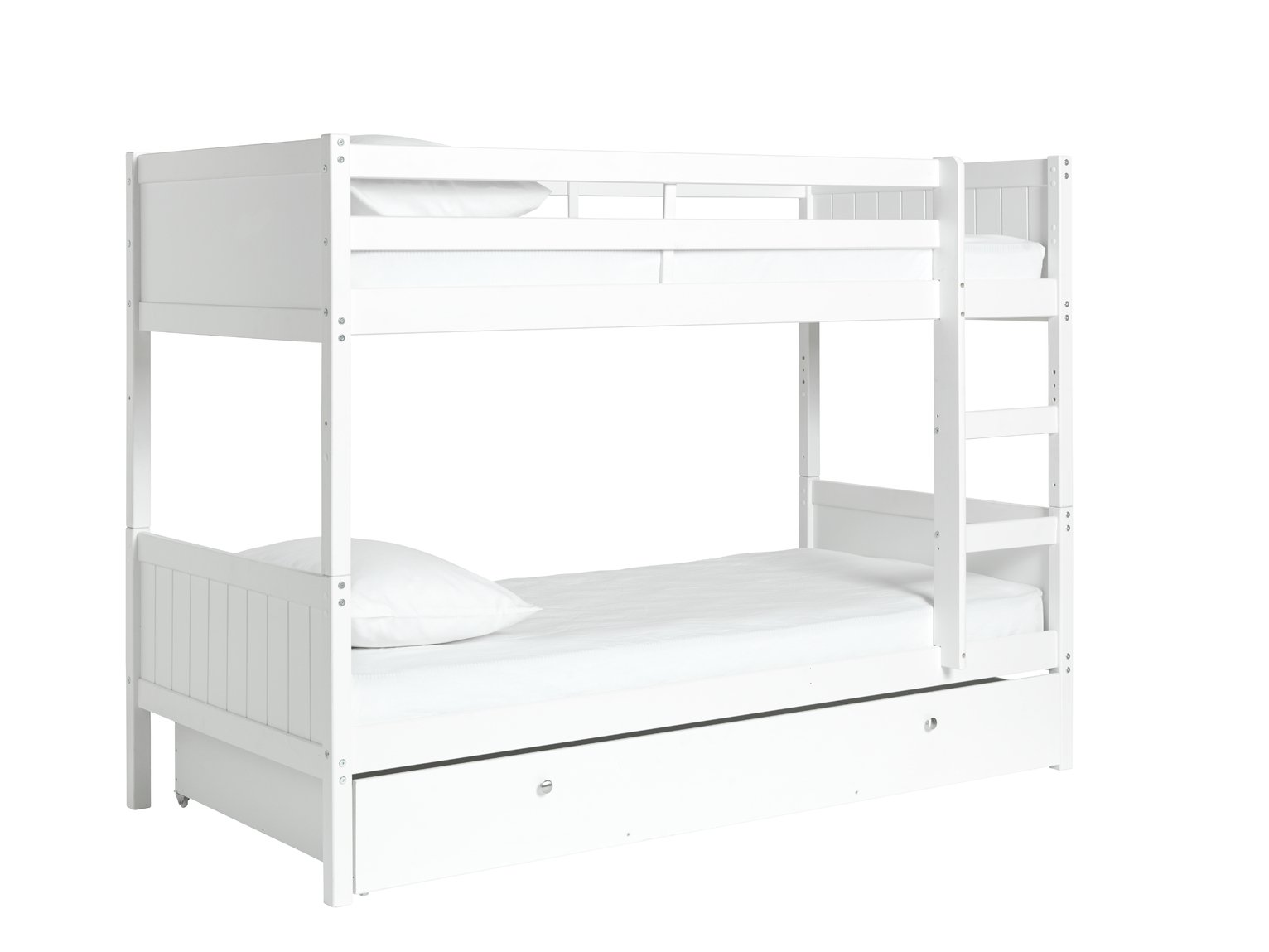 Buy HOME Detachable Single Bunk Bed Frame with Storage White at