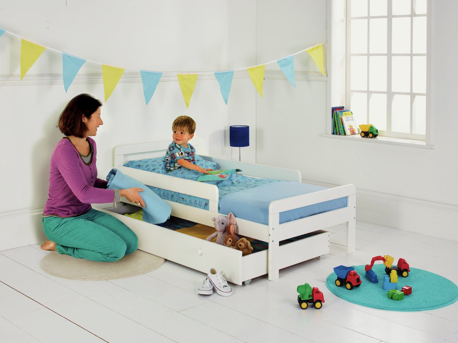 Argos Home Ellis White Toddler Bed Frame with Storage