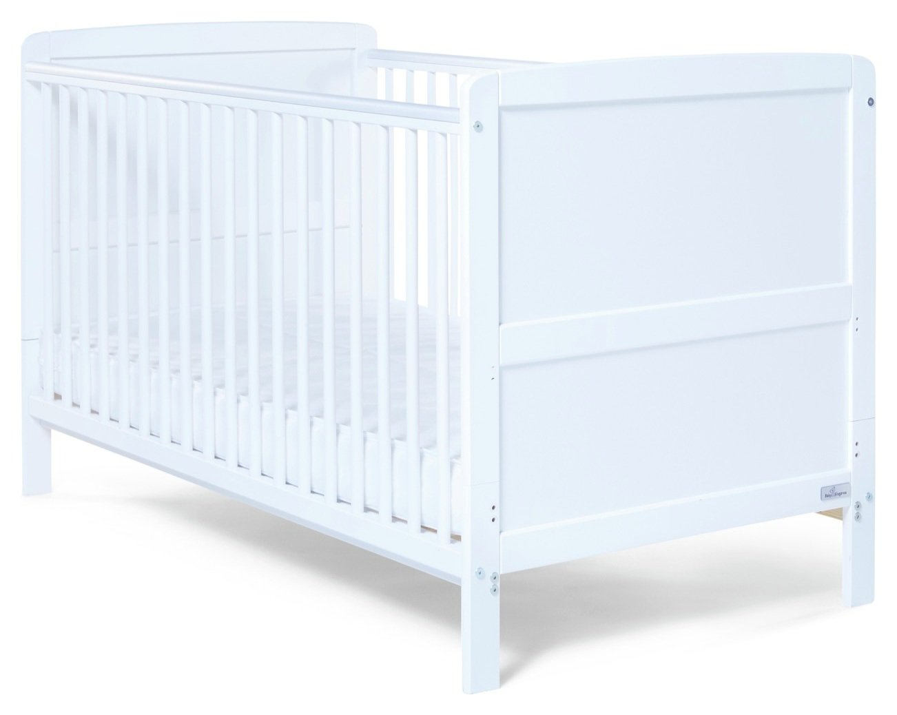 Baby Elegance Travis Cot Bed with Mattress - White