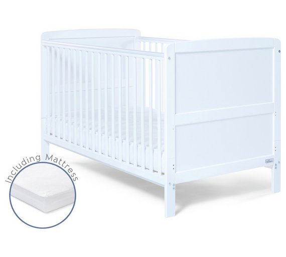 Buy Baby Elegance Travis Cot Bed With Mattress White At Your Online Shop For