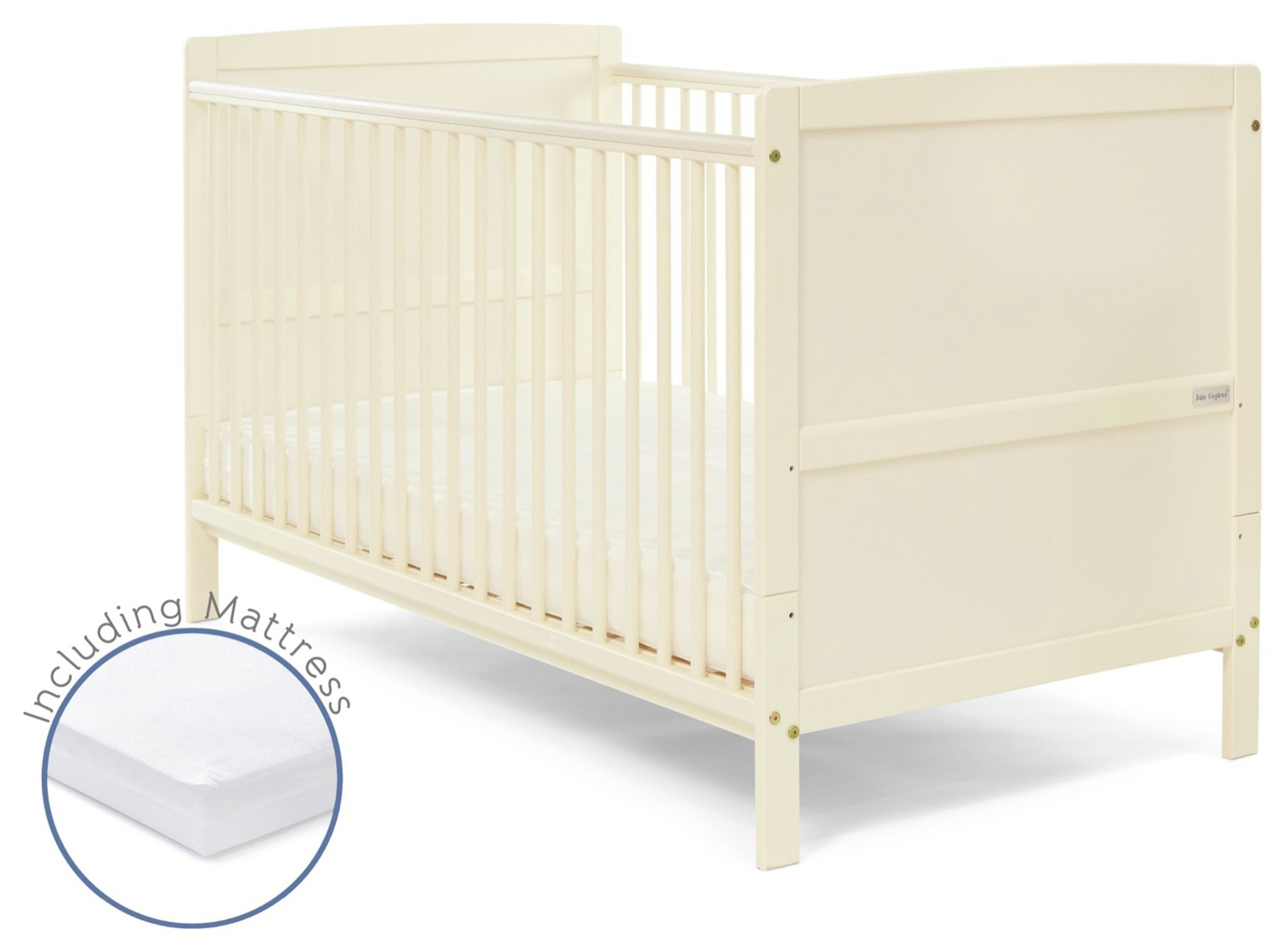 Baby Elegance Travis Cot Bed with Mattress - Cream