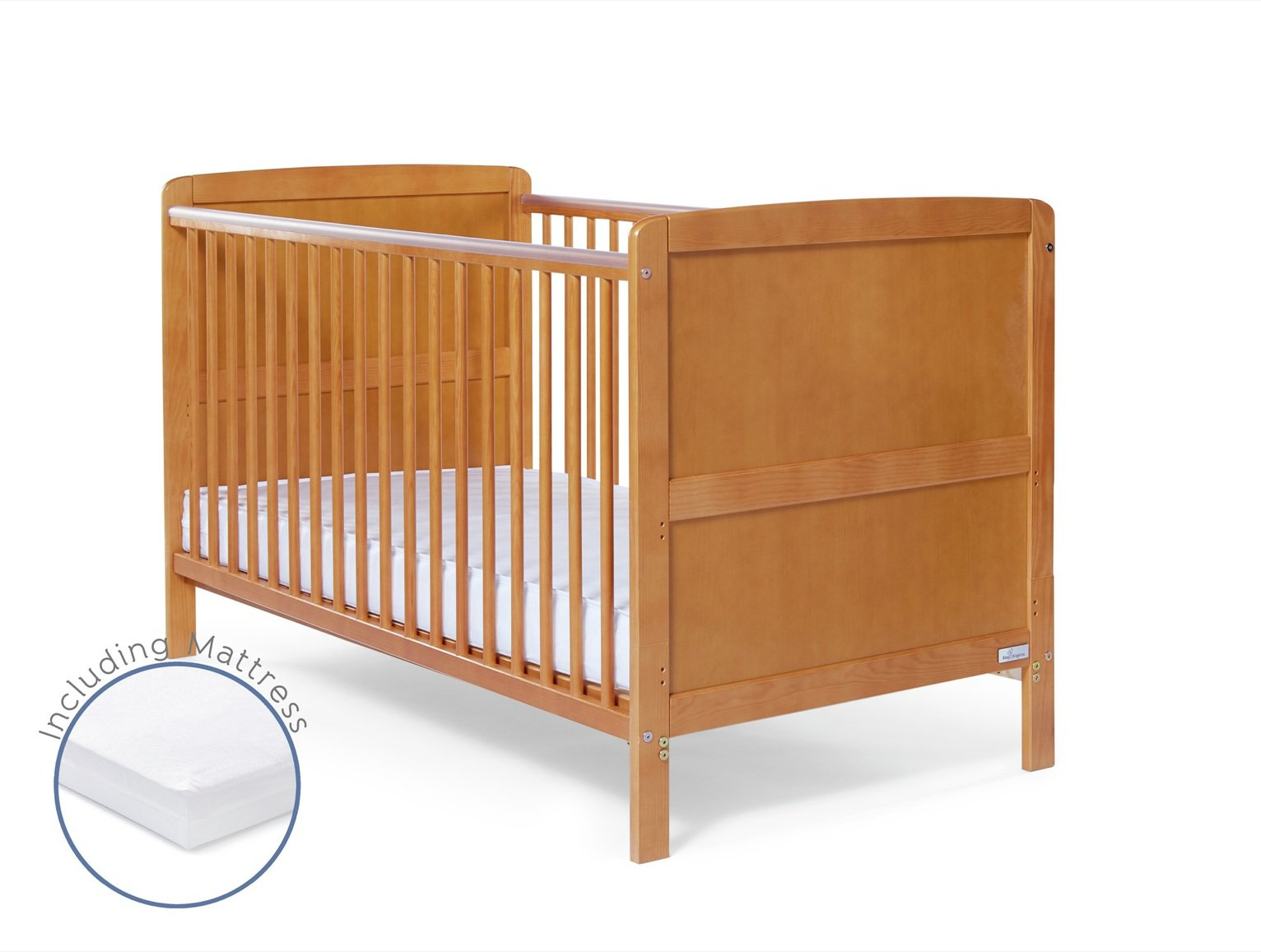 Baby Elegance Travis Cot Bed with Mattress - Antique Pine