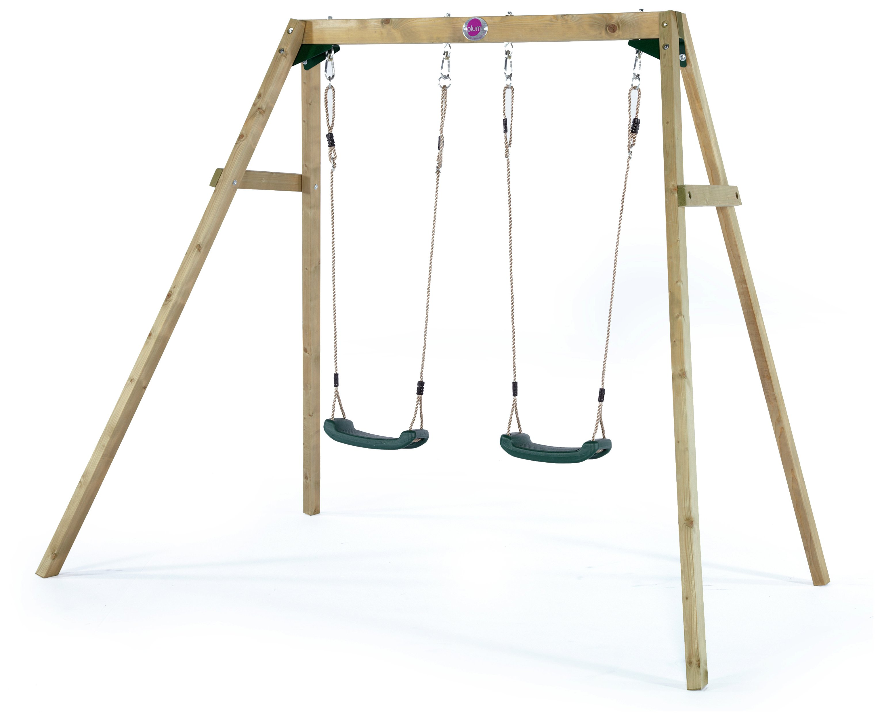 Plum Wooden Double Swing Set.