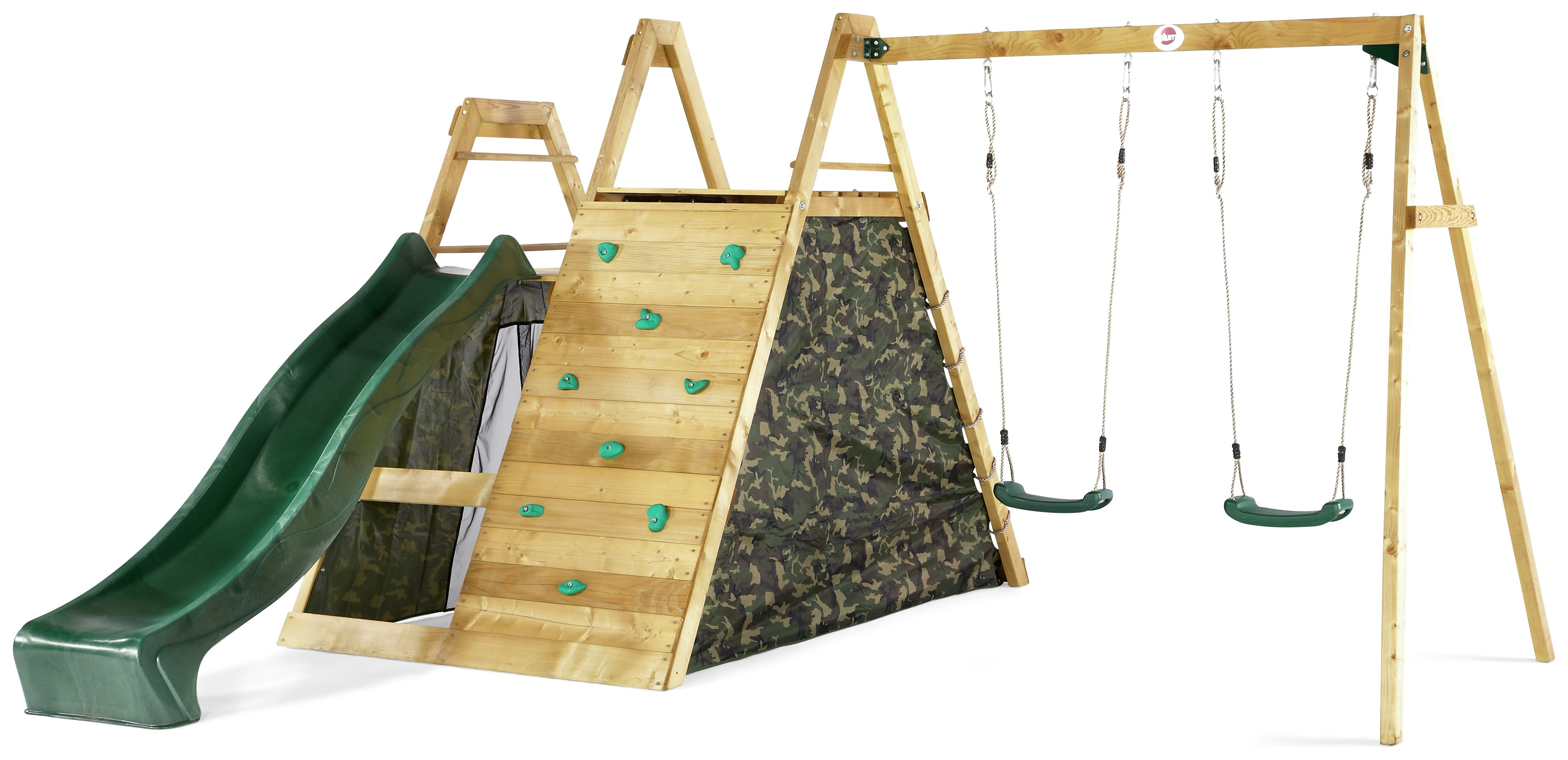 plum  climbing pyramid wooden play centre with double swings