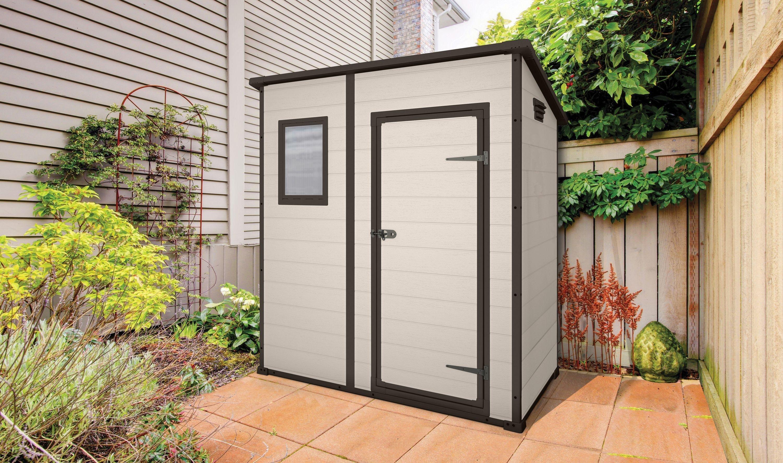 Keter designer pent plastic garden shed 6 x 4ft for Plastic pent shed