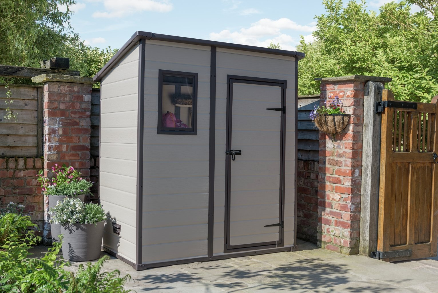 Garden Sheds 6x4 buy keter manor plastic beige & brown garden shed - 6 x 4ft at