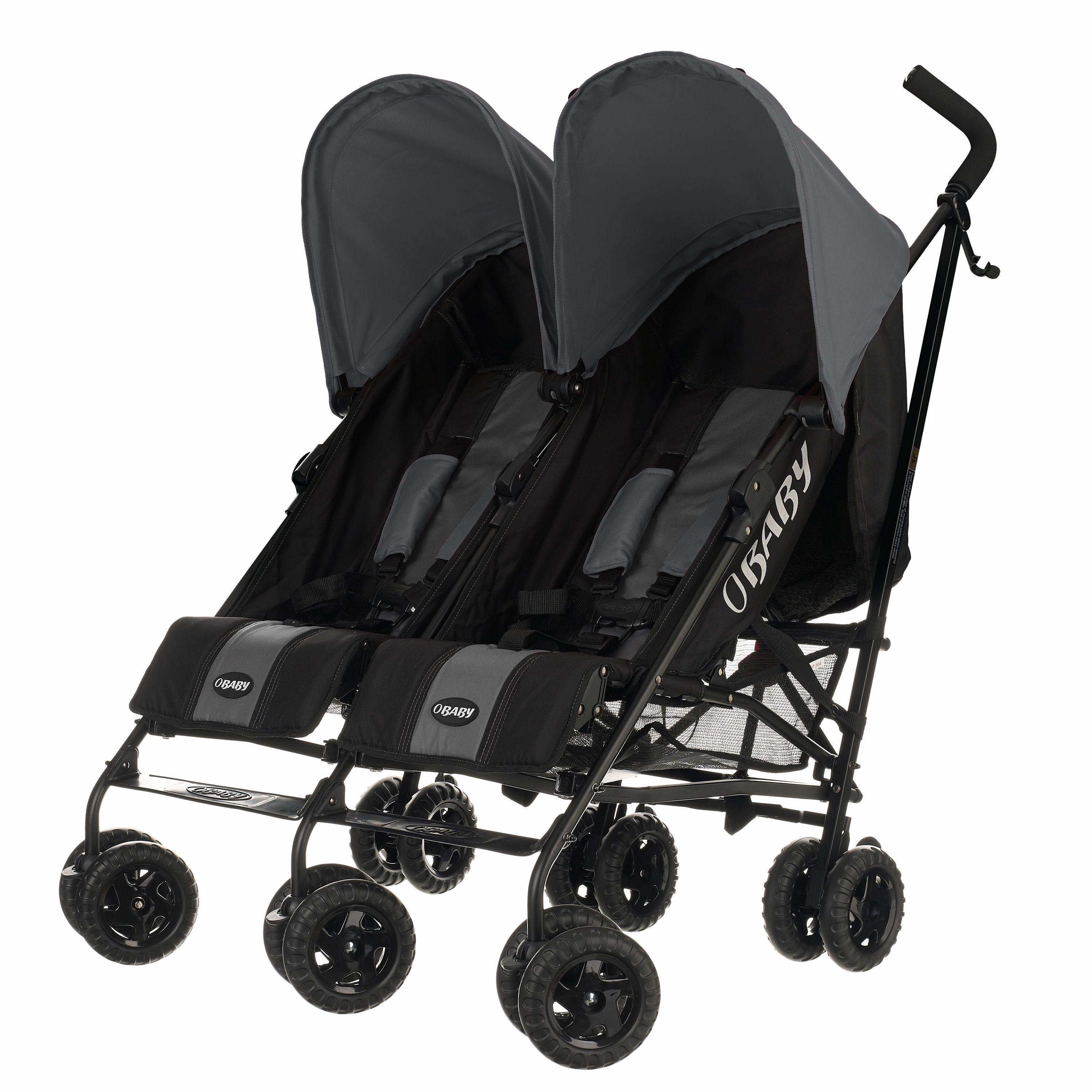Obaby Apollo Black and Grey Twin Stroller - Grey