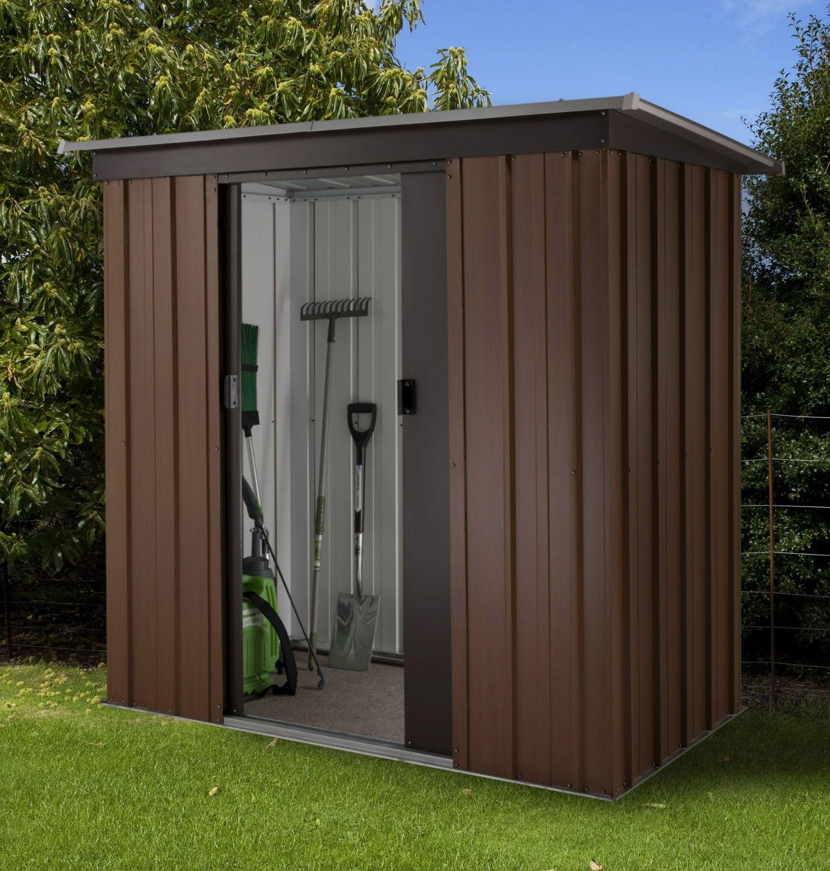 Image of Yardmaster Woodgrain Tall Metal Shed - 7 x 4ft