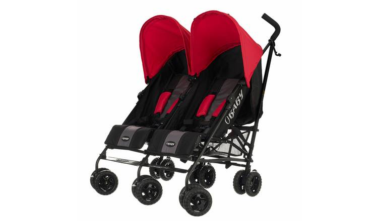 Obaby Apollo Black and Grey Double Pushchair - Red