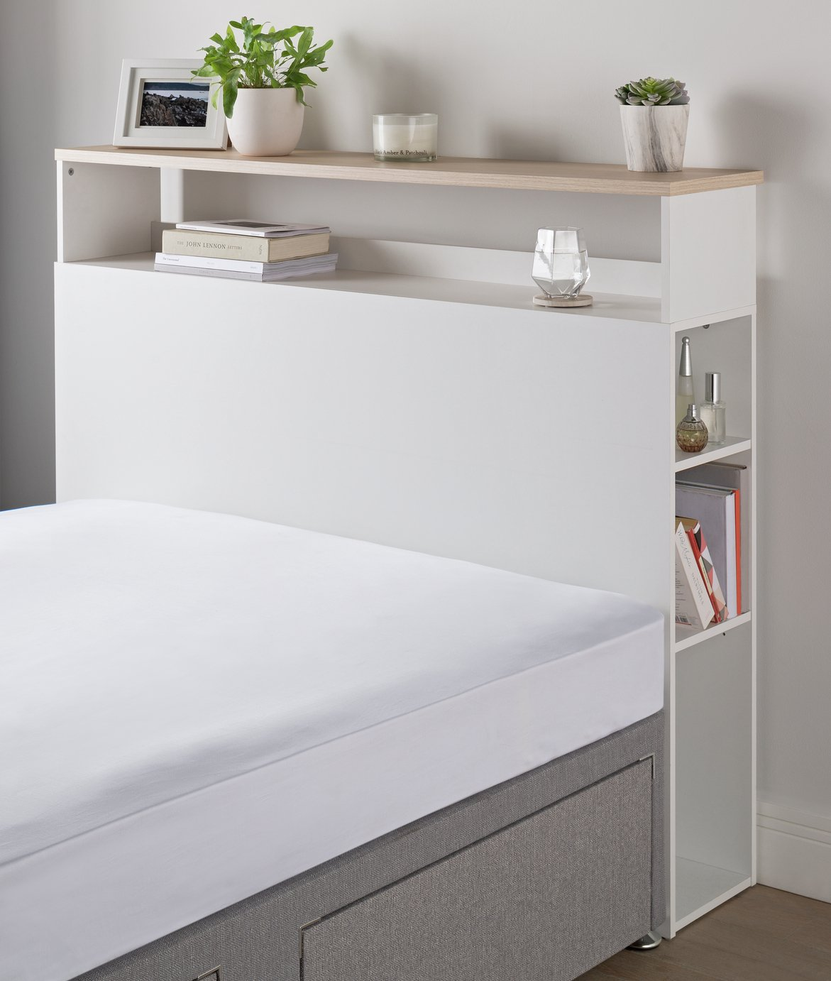 Argos Home Double Storage Headboard - White