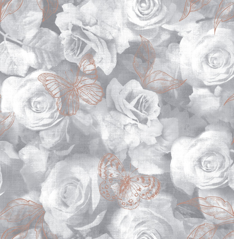 Sublime Everleigh Floral Grey Wallpaper