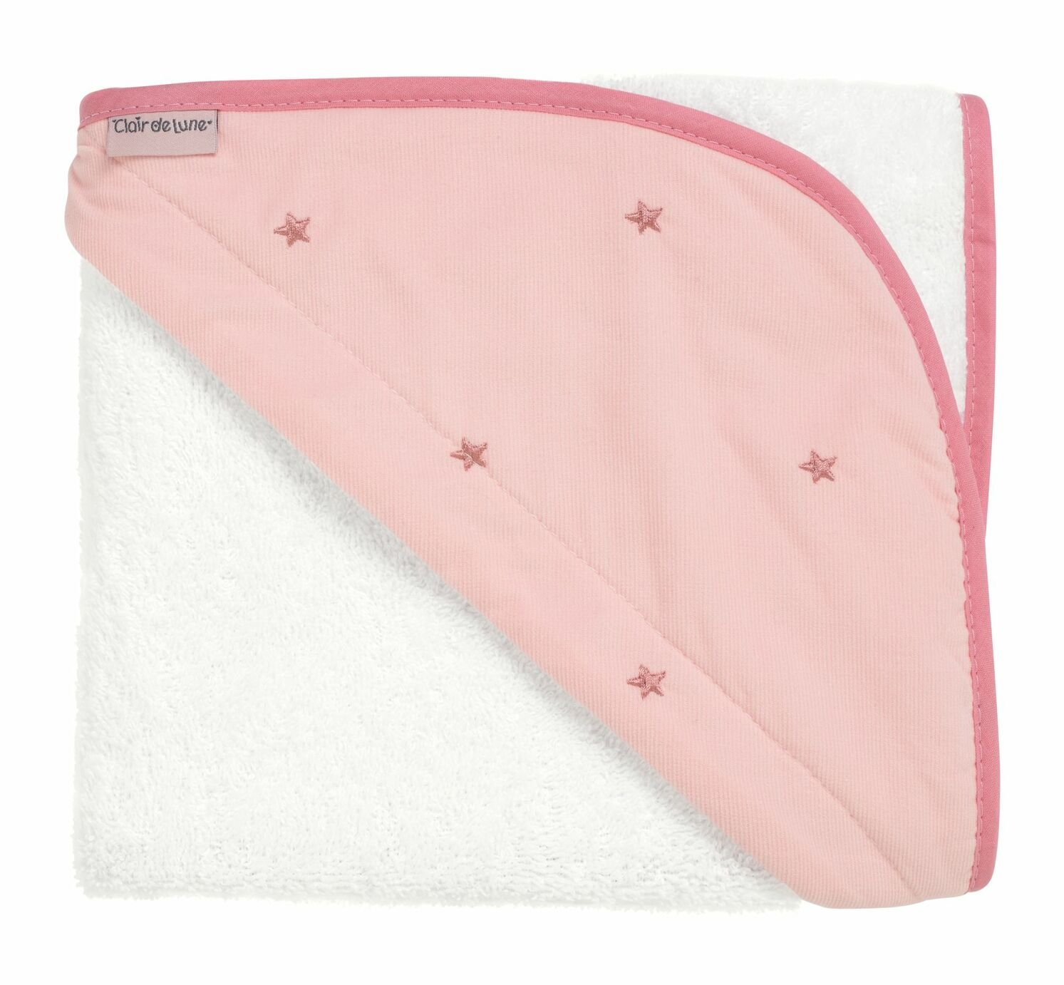 Clair de Lune Lullaby Stars Baby Hooded Towel - Pink