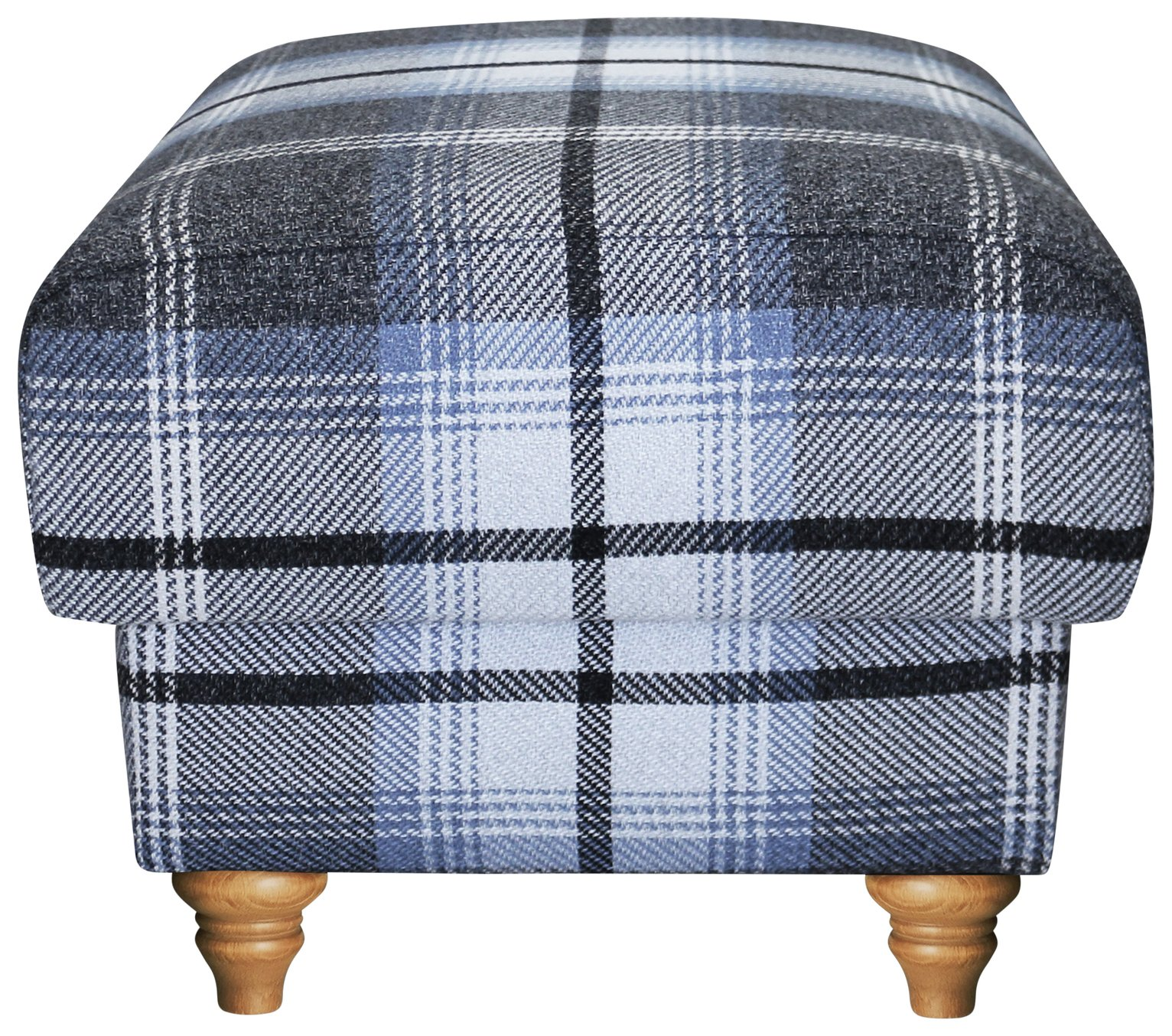 Argos Home Argyll Fabric Storage Footstool - Blue & Charcoal