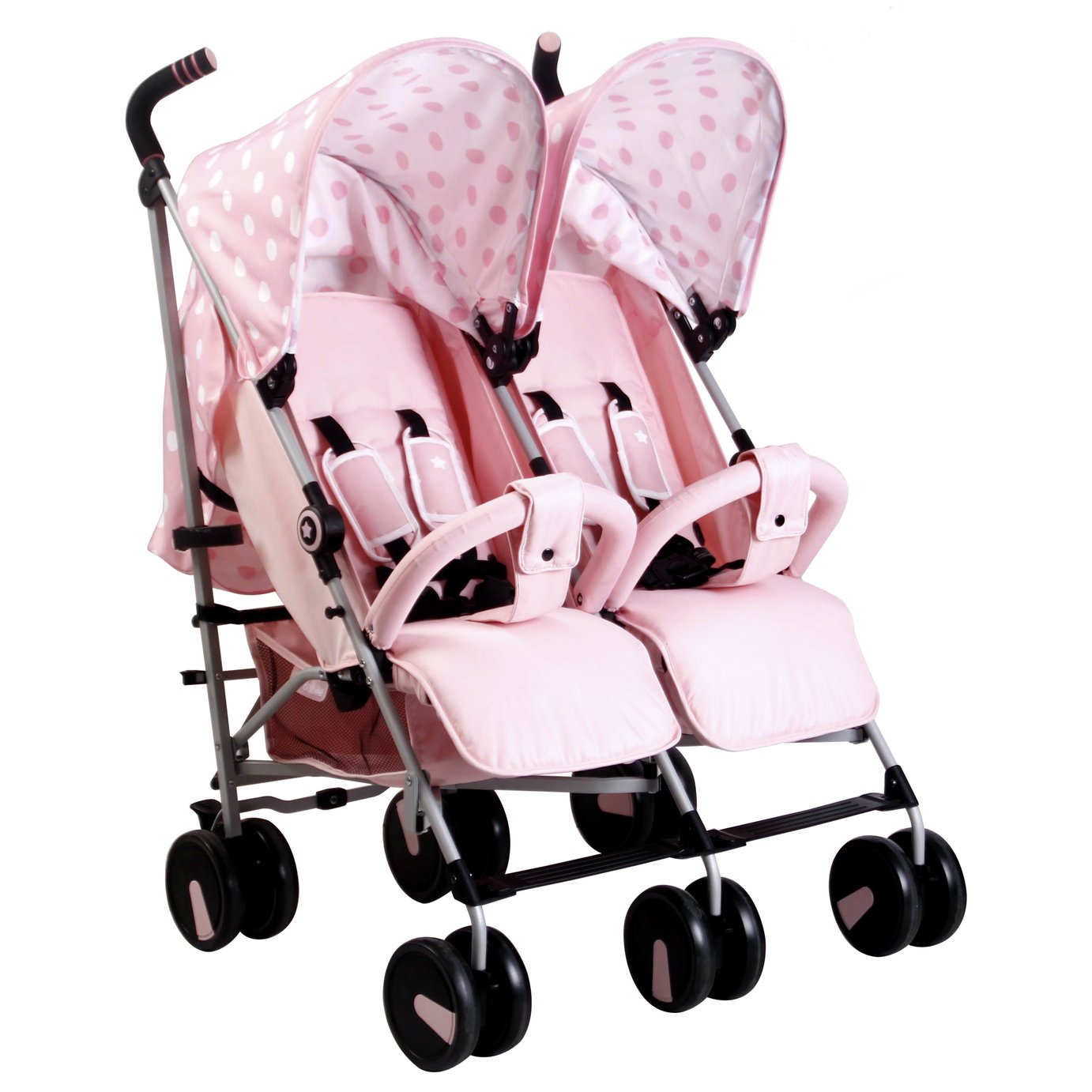 My Babiie MB22 Polka Dot Double Pushchair - Pink