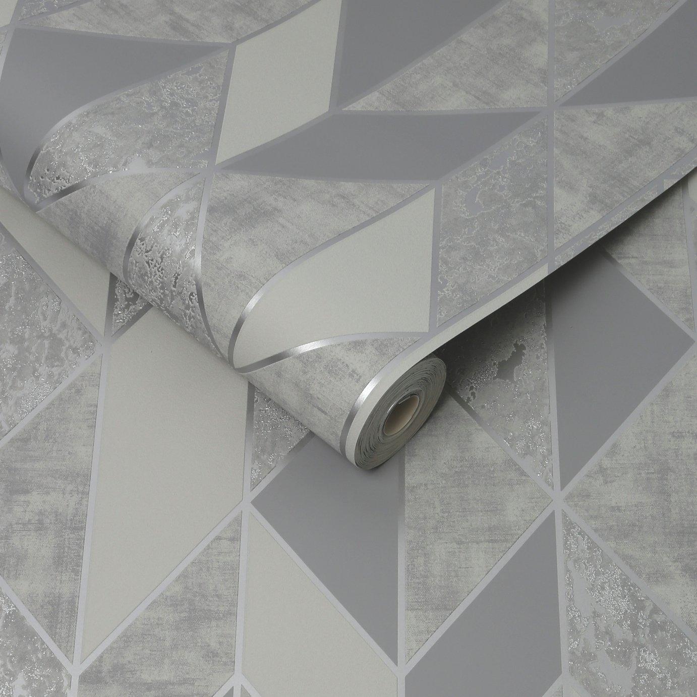 Superfresco Milan Silver Geometric Wallpaper