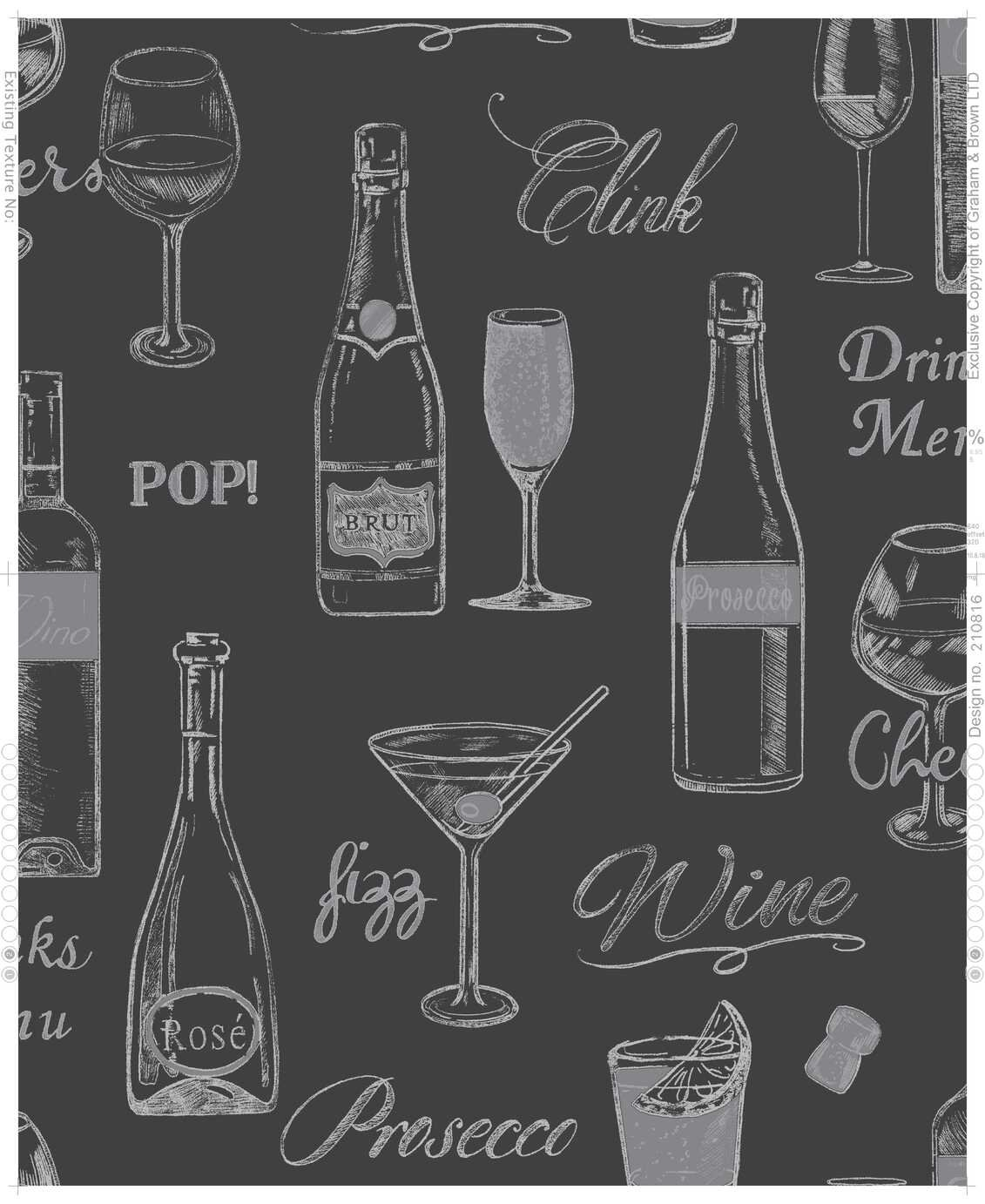 Contour Prosecco Black Wallpaper