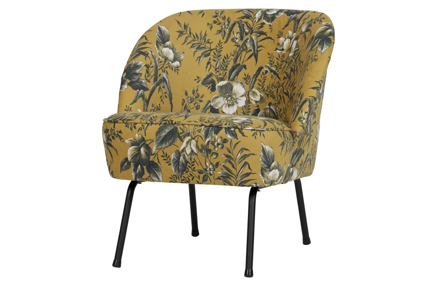 BePureHome Vogue Velvet Armchair - Mustard Floral
