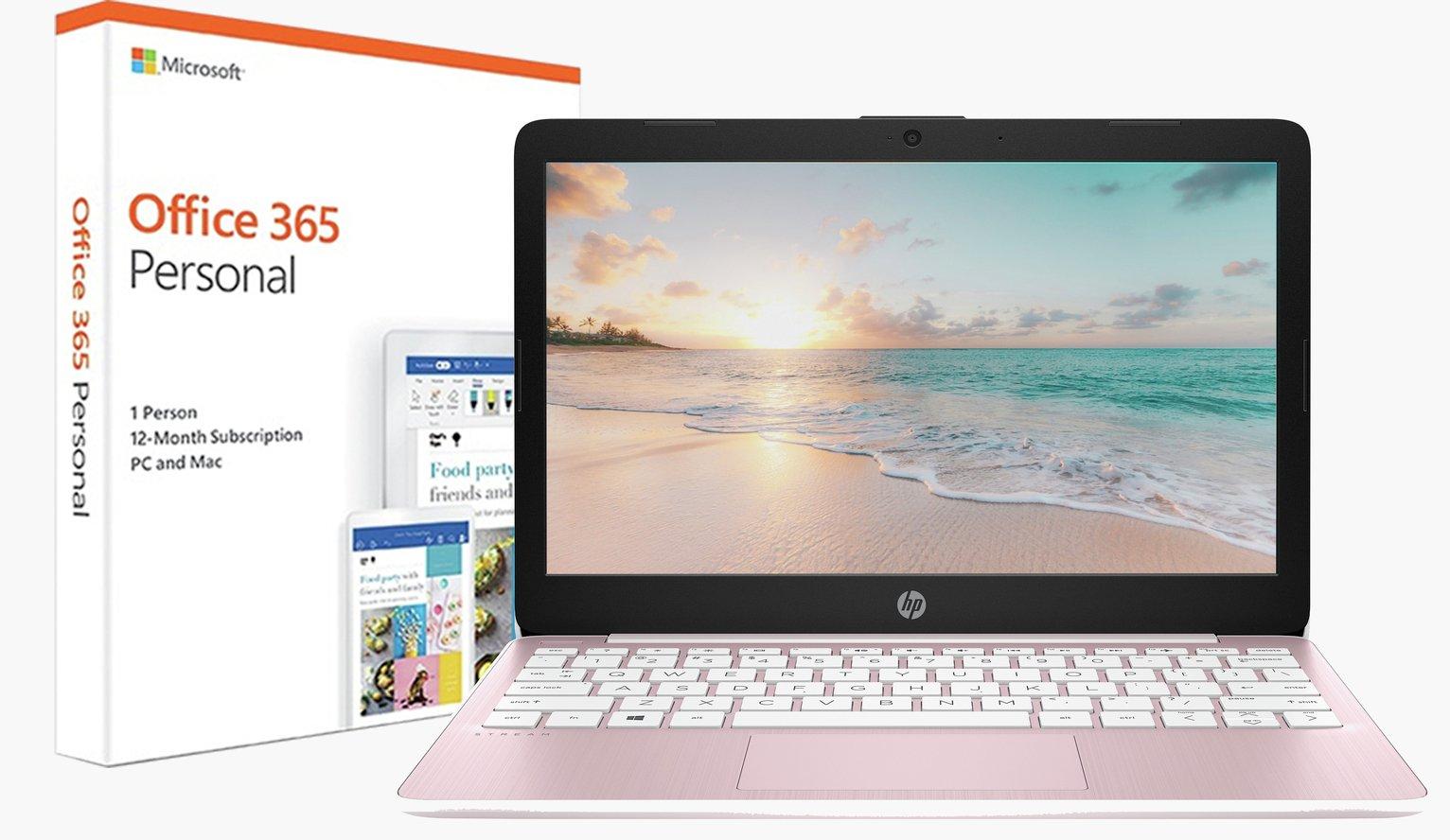 HP Stream 11.6 Inch Celeron 2GB 32GB Cloudbook - Pink