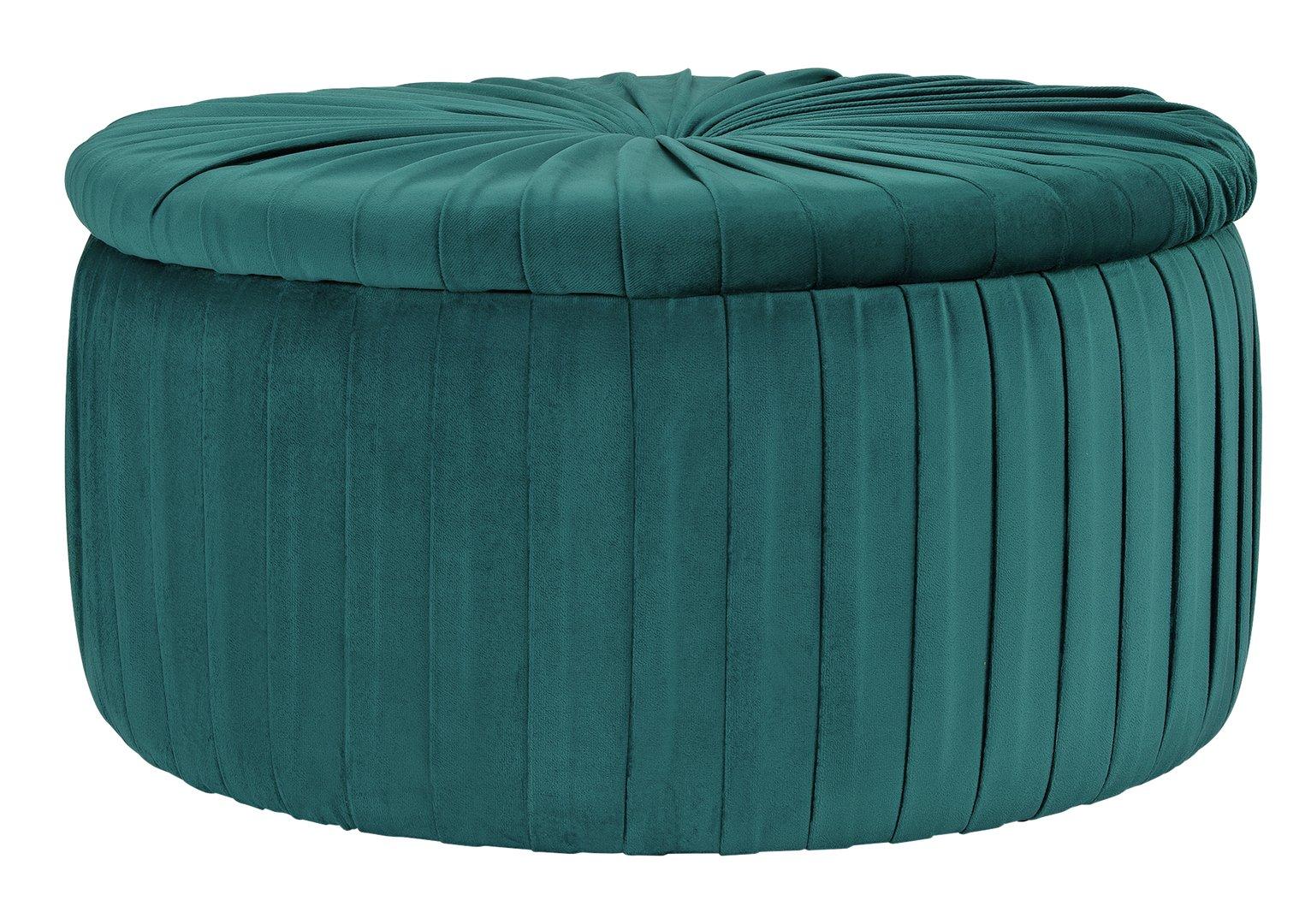 Argos Home Leckie Velvet Storage Footstool - Teal