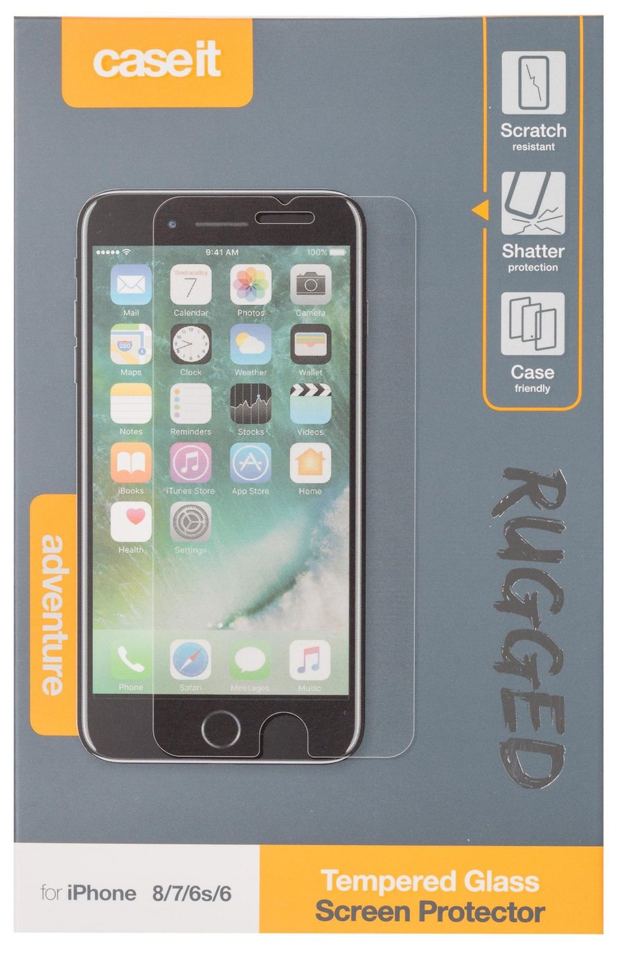 Case It Rugged Apple iPhone 8/7/6S/6 Screen Protector