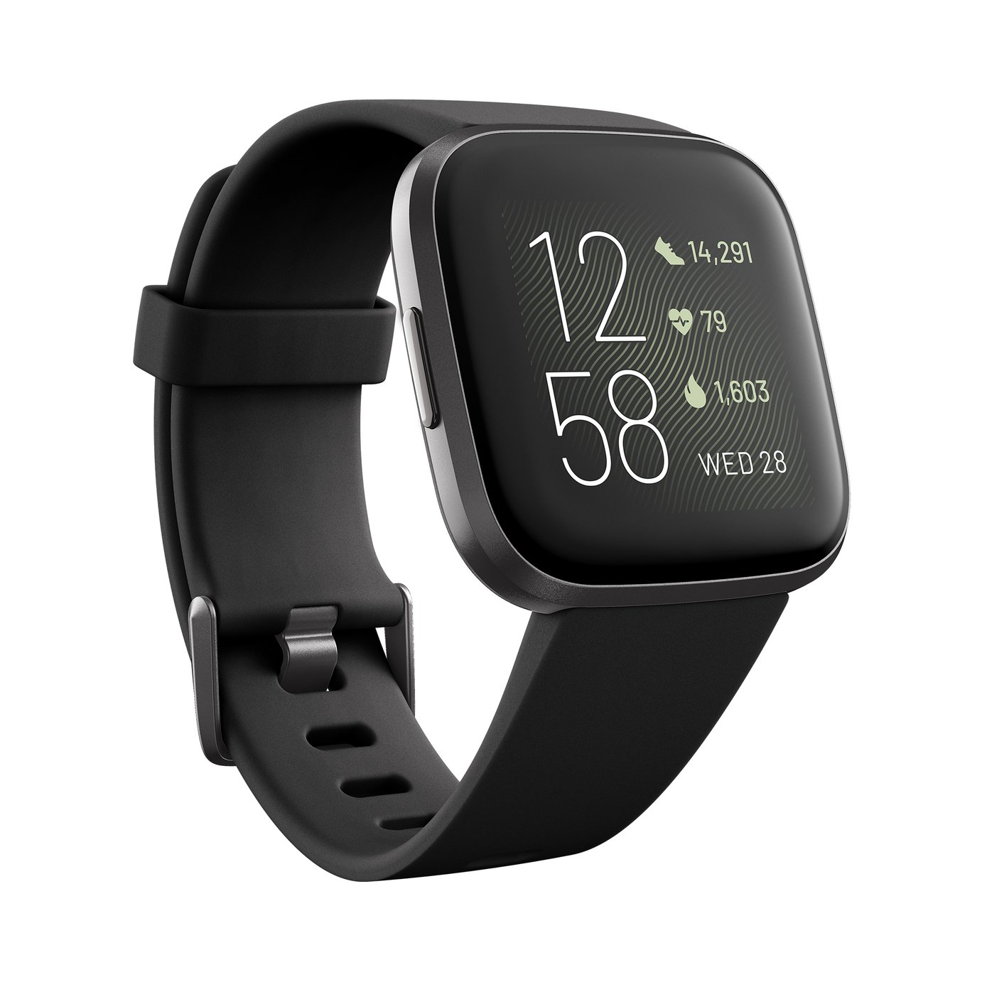 Fitbit Versa 2 Smart Watch - Carbon Alu / Black Band