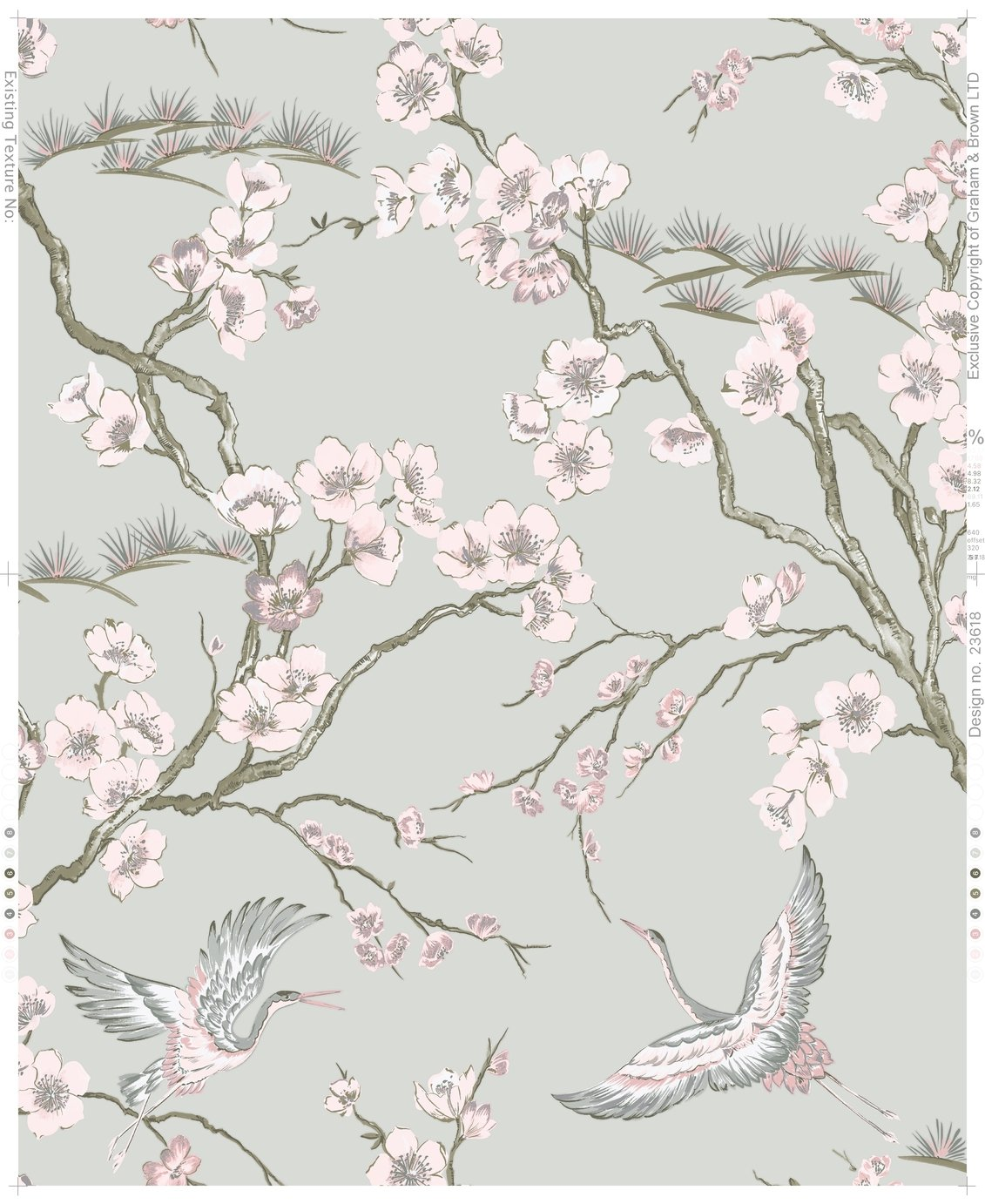 Sublime Japan Grey & Pink Wallpaper
