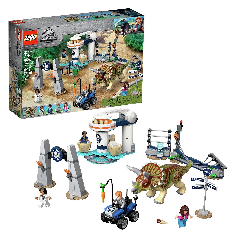 LEGO Jurassic World Triceratops Rampage Dinosaur Toy 75937