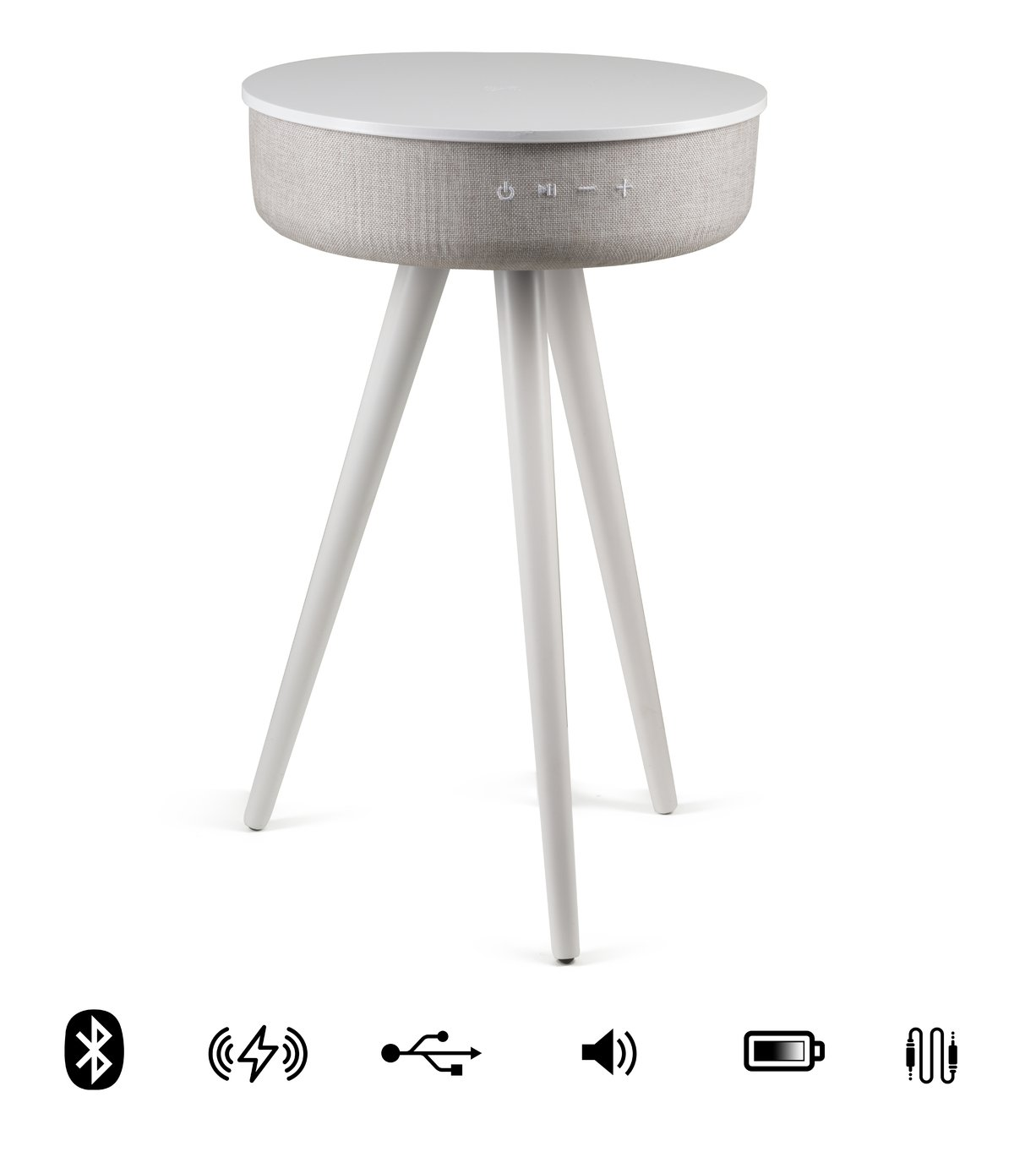 Koble Milo wireless charging Bluetooth Side Table - White