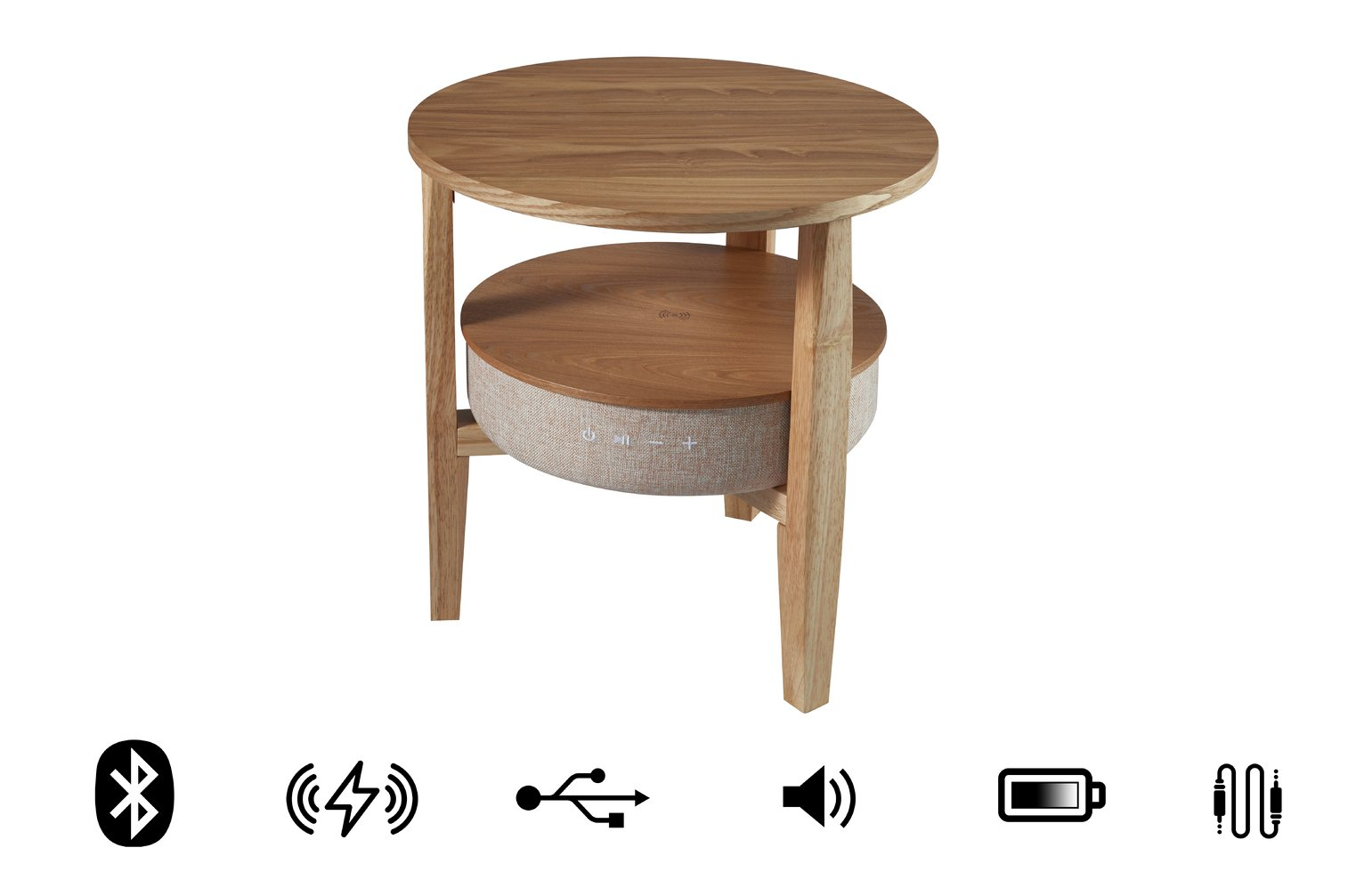 Koble wireless charging Bluetooth Side Table - Oak Effect