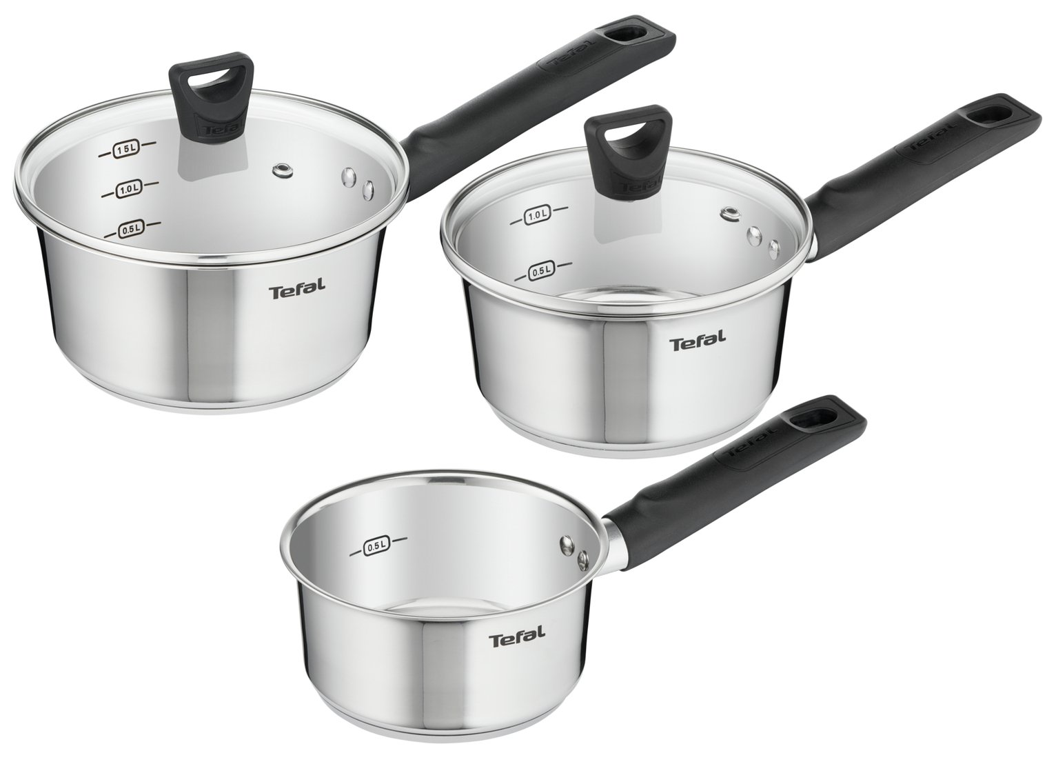 Tefal Simpleo 3 Piece Stainless Steel Non-Stick Pan Set