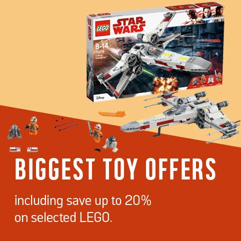 Our biggest toy offers including save up to 20% on selected LEGO.