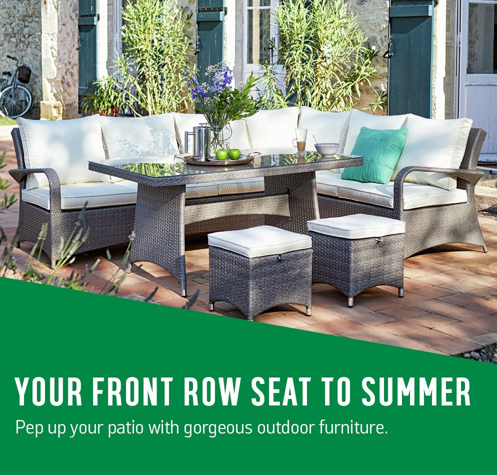 Your front row seat to summer. Pep up your patio with gorgeous outdoor furniture.