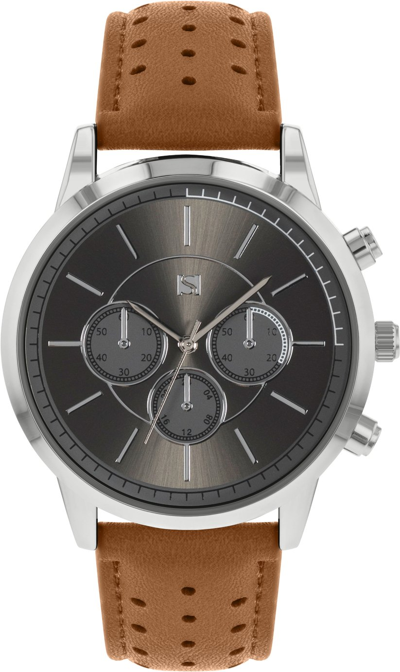Spirit Men's Brown Faux Suede Strap Watch