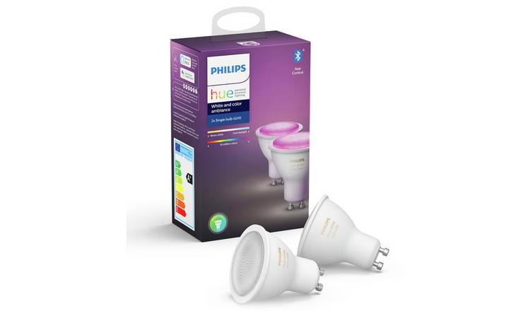 Philips Hue GU10 Colour Smart Bulb with Bluetooth - 2 Pack