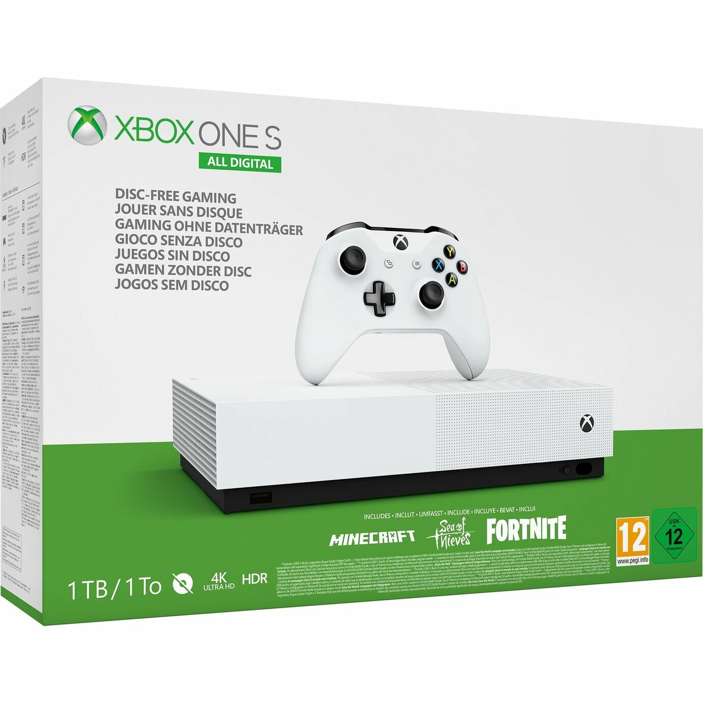 Xbox One S 1TB All Digital Console Fortnite & 2 Game Bundle