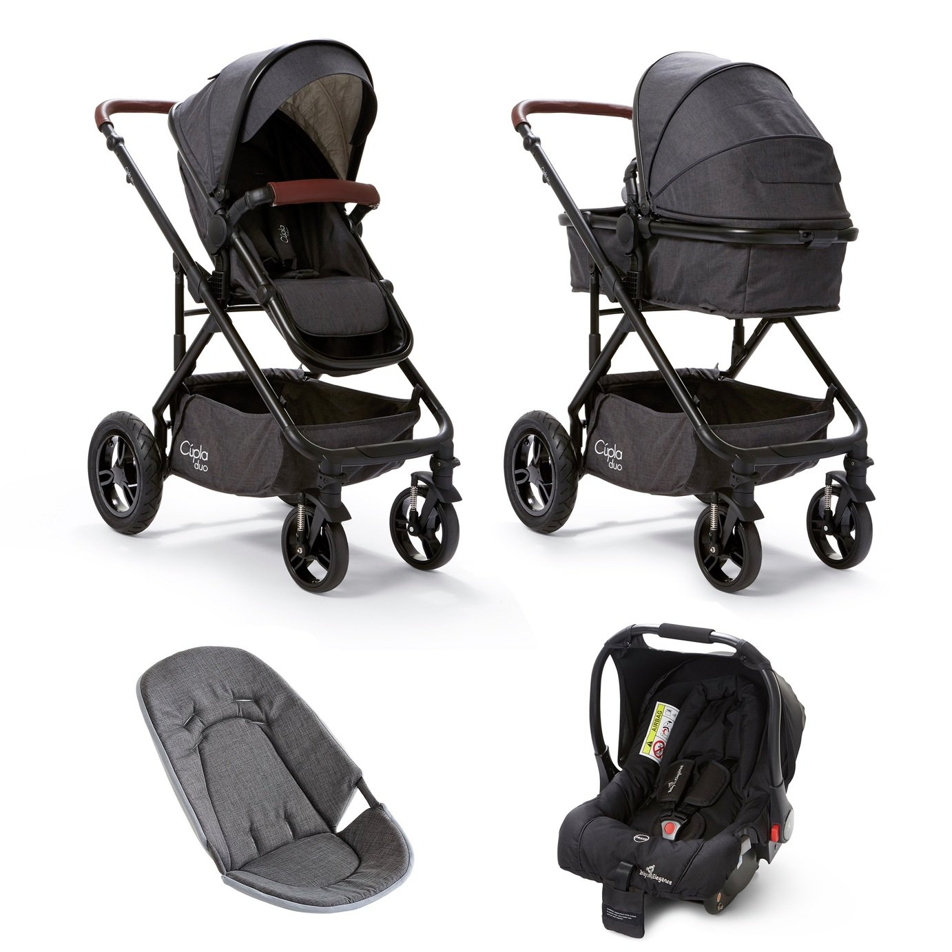 Baby Elegance Cupla Duo Travel System - Charcoal