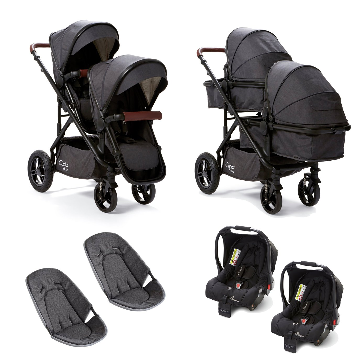 Baby Elegance Cupla Twin Travel System - Charcoal