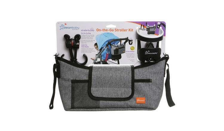 Dreambaby? On-The-Go Stroller Bag + Hooks + Cup - Grey Denim